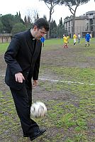 priest with soccer ball
